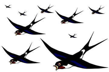 Flight of swallows on the white background vector eps10