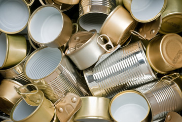Tin cans ready for recycling