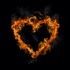 Heart on hot fire flames