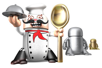 Cute cook toy robots isolated on a white