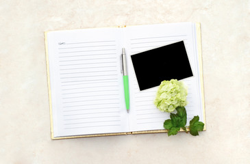 Open Blank  Book with Photo