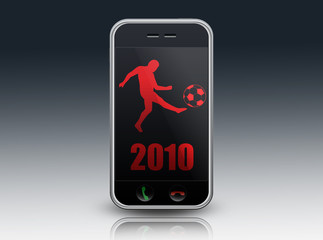 "Mobile Device with ""2010 - World Cup"" on screen"