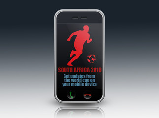 "Mobile Device with ""South Africa 2010"" on screen"