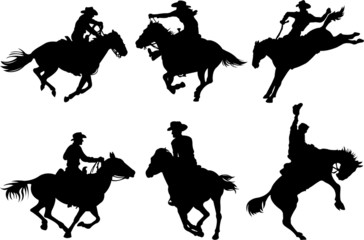Photo on textile frame Fairytale World Cowboys silhouettes