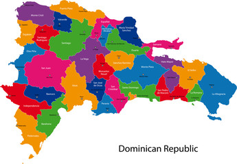 Map of Dominican Republic with the provinces