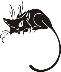 Black Cat. Vector Image.