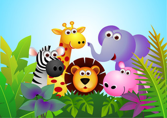 Poster de jardin Zoo Cute animal cartoon in the jungle