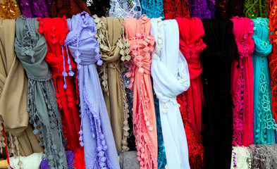 collorfull shawls on the market