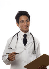 young asian medical student/intern in lab coat