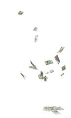 falling Poland cash isolated on white background