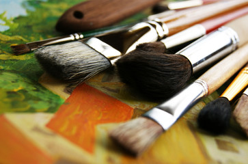 Brushes on linen