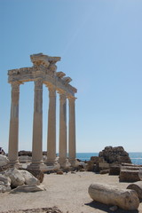 marble columns near the sea in side antalya