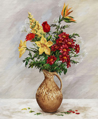 Bouquet in a ceramic jug
