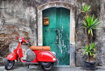 Obraz Red scooter - fototapety do salonu