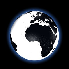 Black and white Earth in space with blue glow