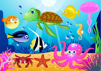 Poster Submarine Sealife cartoon