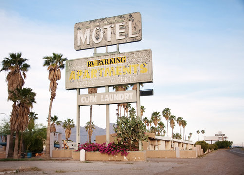 An old sign over old motel in Arizona, USA