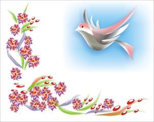 Fondo de flores con paloma
