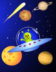 Cute alien in the spaceship