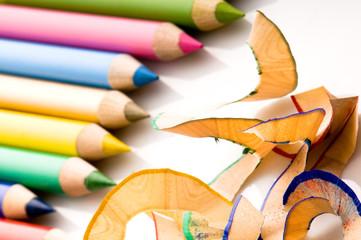 Sharpened pencils and wood shavi