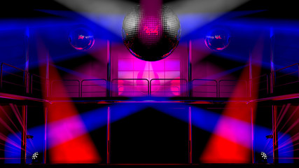Night club discotheque colorful lights and disco balls