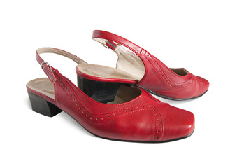 isolated red woman's shoes