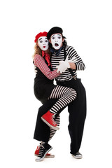 portrait of frightened mimes
