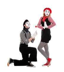 portrait of mimes. couple in love.