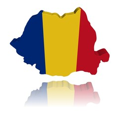 Romania map flag 3d render with reflection illustration