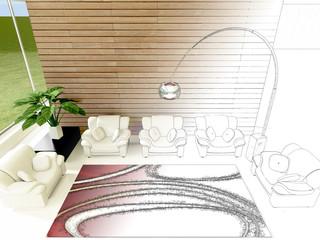 Soggiorno con poltrone lampada e tappeto