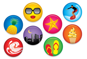 Summer Badges - More summer illustrations in my portfolio