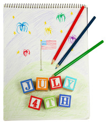 4th of July Drawing and Blocks