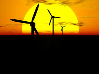 Wind turbines and sun