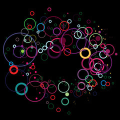 Colorful circles on black
