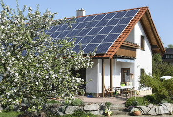 Family home with solar moduls