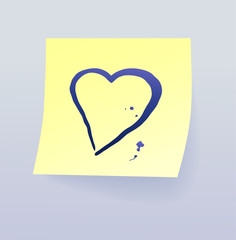 Sticky note with heart, vector illustration