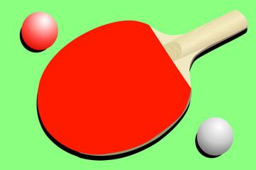 Vector illustration of ping pong racket and balls
