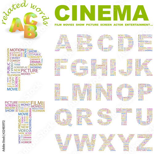 CINEMA  Wordcloud alphabet with different association terms