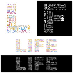 LIFE. Wordcloud illustration.