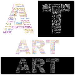 ART. Wordcloud vector illustration.
