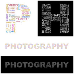 PHOTOGRAPHY. Wordcloud vector illustration.