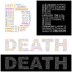 DEATH. Wordcloud vector illustration.