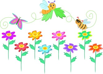 Flowers with Bug Line