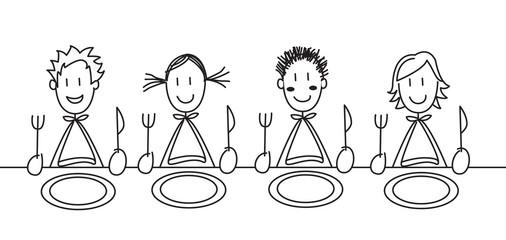 4 enfants à table blanc