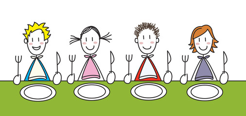 enfants à table colorés