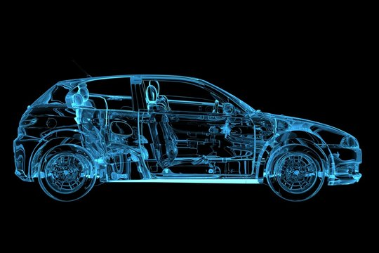 Car 3D rendered xray blue transparent