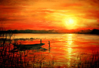 Sunset acrylic painted.