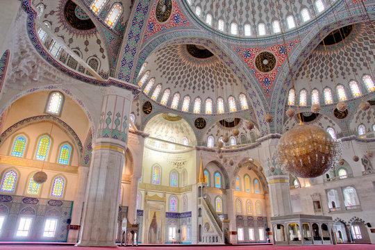 Interior of Kocatepe Mosque in Ankara - Turkey