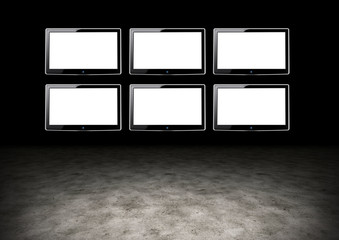Several TVs with blank space