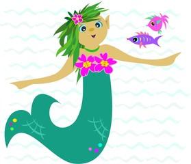 Green Mermaid in the Sea